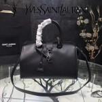 YSL 394461-5 時尚新款黑色原版小牛皮手提單肩包