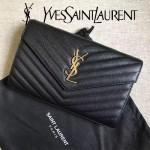 YSL 360452Q-3 高級宴會必備黑色原版牛皮多卡位單肩斜挎包手拿包