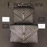 YSL 392737-4 專櫃最新設計銀灰色原版魚子醬皮單肩斜挎包