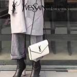 YSL 360452-15 時尚復古風黑白配原版魚子醬皮槍色五金單肩斜挎包