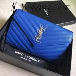 YSL 360452Q-2 高級宴會必備藍色原版牛皮多卡位單肩斜挎包手拿包