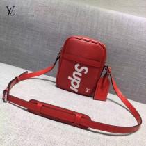 LV M41804-4 時尚新款LV+Supreme合作款紅色水波紋原版皮中號單肩斜挎包