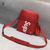 LV M41803-4 時尚新款LV+Supreme合作款紅色水波紋原版皮大號單肩斜挎包