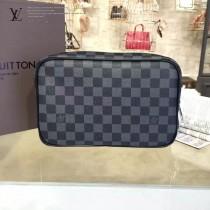 LV N47506 時尚男女款黑色棋盤格原版皮大號盥洗包化妝包收納包