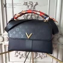 LV M42905 時髦都市VERY ONE HANDLEV型鎖扣黑色原版皮手提單肩包