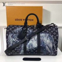 LV-M54129 KEEPALL45旅行袋 採用Monogram帆布面料動物印花時尚旅行袋