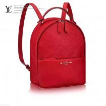 LV M44015-3 夏日新品女士SORBONNE原單紅色壓花配皮休閒雙肩包