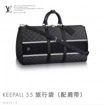 LV M43414 專櫃新品藤原浩聯名款KEEPALL 55原單黑色老花大容量手提單肩包旅行袋