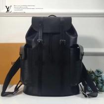 LV M41397-7 戶外必備CHRISTOPHER黑色水波紋原版皮雙肩包登山包