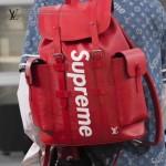LV M41397-8 專櫃新品Supreme聯名合作款CHRISTOPHER紅色原版皮雙肩包登山包