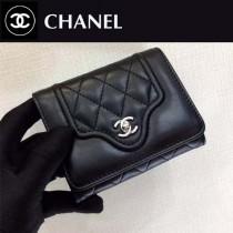 CHANEL-84233-2 夏季新款羊皮拼色菱格紋女士短款錢包卡包