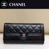 CHANEL-01102 夏季新款羊皮拼色菱格紋女士二折長款錢包