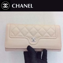 CHANEL-01102-2 夏季新款羊皮拼色菱格紋女士二折長款錢包