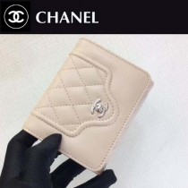 CHANEL-84233 夏季新款羊皮拼色菱格紋女士短款錢包卡包