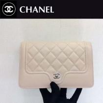 CHANEL-01101 夏季新款羊皮拼色WOC菱格紋女士單肩斜挎包