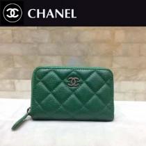 CHANEL-01111 綠色球紋牛皮銀扣女士拉鏈零錢包卡包