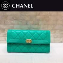 CHANEL-01103 新款新色橄欖綠進口球紋牛皮女士二折長款錢夾