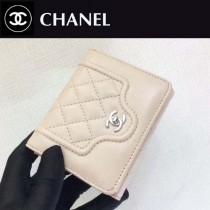 CHANEL-84232 春夏新款羊皮拼色菱格紋女士潮流三折短款錢夾