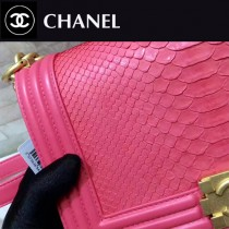CHANEL-01115 新款BOY蛇皮配羊皮皮帶里外全皮鏈條包女士斜挎包