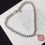 Tiffany飾品-09-2 女神必備款粉色桃心造型316鈦鋼材質手鏈
