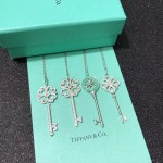 Tiffany飾品-010 時尚萬年經典款925純銀鑲鑽鑰匙吊墜項鏈