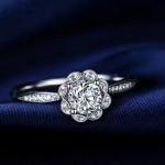 Tiffany飾品-012 蒂芙尼新款925純銀花朵鑲嵌進口鋯石鑽戒