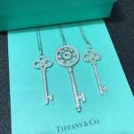 Tiffany飾品-010-3 時尚萬年經典款925純銀鑲鑽鑰匙吊墜項鏈