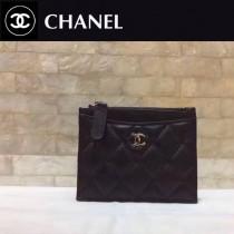 CHANEL-01121 新款經典原單女士黑色拉鏈零錢包卡包