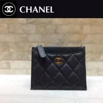 CHANEL-01121-2 新款經典原單女士黑色拉鏈零錢包卡包