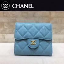 CHANEL-82288 原單進口淺藍魚子醬球紋牛皮金扣女士三折短款錢夾