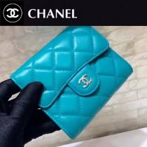CHANEL-01123 新款羊皮湖水藍女士銀扣短款錢夾