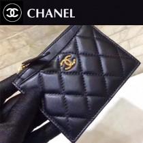 CHANEL-01121-3 新款經典原單女士黑色拉鏈零錢包卡包