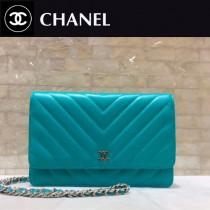 CHANEL-01130 原單進口V型羊皮銀扣WOC女士斜挎包