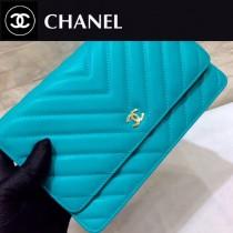 CHANEL-01130-2 原單進口V型羊皮金扣WOC女士斜挎包