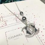CHANEL 飾品-018-2 香奈兒復古月牙系列新款雙C帶珍珠項鏈