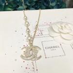 CHANEL 飾品-018 香奈兒復古月牙系列新款雙C帶珍珠項鏈