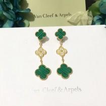 Van Cleef&Arpels飾品-015-2 專櫃同款925純銀咪金電鍍經典四葉草三花耳釘