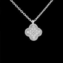 Van Cleef&Arpels飾品-010-3 潮流爆款女士VCA925純銀材質鑲鑽四葉草項鏈