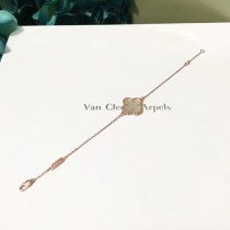 Van Cleef&Arpels飾品-09-6 人氣熱銷ALHAMBRA系列925銀鍍K金中號四葉草手鏈