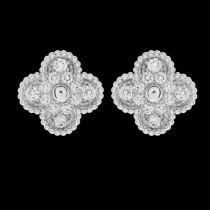 Van Cleef&Arpels飾品-010 潮流爆款女士VCA925純銀材質鑲鑽四葉草耳釘