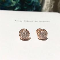 Van Cleef&Arpels飾品-016-3 專櫃新品Perlée系列925純銀圓珠鑲鑽耳釘