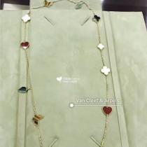 Van Cleef&Arpels飾品-014 專櫃限量版蝴蝶愛心葉子625純銀12花毛衣鏈項鏈