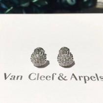 Van Cleef&Arpels飾品-016-4 專櫃新品Perlée系列925純銀圓珠鑲鑽耳釘