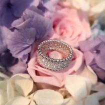 Van Cleef&Arpels飾品-011 時尚經典款低調新款925純銀鍍金鑲鑽邊緣鑲珠戒指