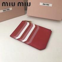 MIUMIU 5BL008 輕便實用紅色原版馬德拉斯山羊皮多卡位卡片夾零錢包