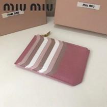 MIUMIU 5BL008-2 輕便實用粉色原版馬德拉斯山羊皮多卡位卡片夾零錢包