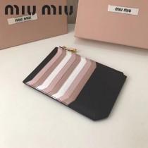 MIUMIU 5BL008-3 輕便實用黑色原版馬德拉斯山羊皮多卡位卡片夾零錢包