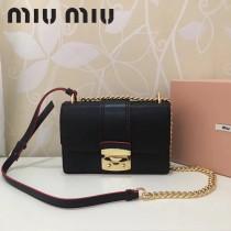 MIUMIU 5BD025-2 人氣熱銷黑色原版山羊紋牛皮單肩斜挎包四方包