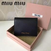 MIUMIU 5MV204 時尚新款黑色原版馬德拉斯山羊皮短款兩折錢包