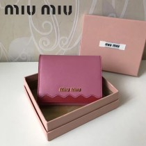 MIUMIU 5MH016-2 潮流新款粉紅拼色原版平紋牛皮8個卡位短款三折錢包